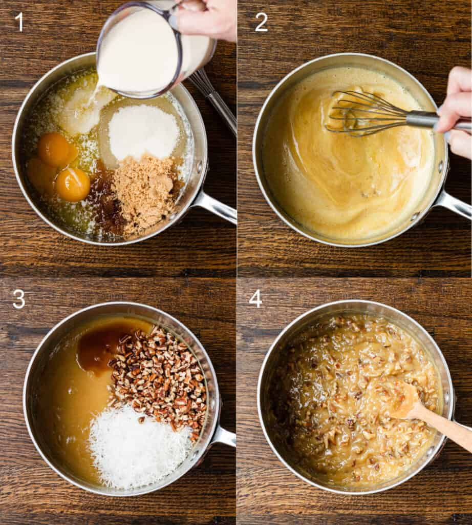 Four process photos for making German Chocolate Frosting, in a saucepan.