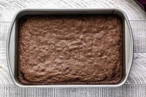 A pan of baked brownies.