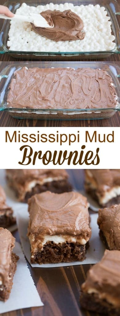 My favorite one-bowl brownie recipe topped with warm gooey marshmallows and chocolate frosting.  | tastesbetterfromscratch.com #easy #marshmallow #mud #chocolatefrosting #dessert