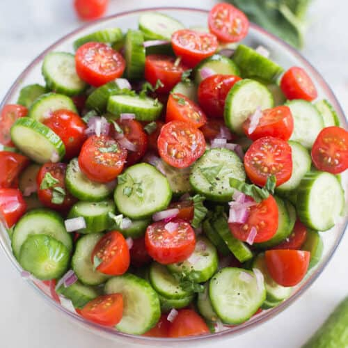 Tomato Cucumber Avocado Salad is the perfect easy and healthy side dish for your summer BBQ! | tastesbetterfromscratch.com