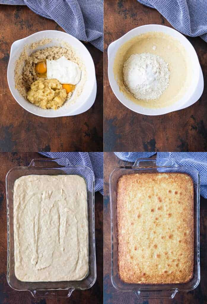 Four process photos for making banana bread bars including mixing the batter, pouring into a baking pan, and baking.