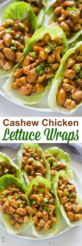 Delicious, easy and bursting with flavor--there's so much to love about these Cashew Chicken Lettuce Wraps! Serve them as a main dish or appetizer. | tastesbetterfromscratch.com  #healthy #lowcarb #easyrecipes #pfchangs
