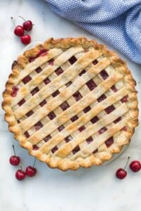 Homemade cherry pie with fresh or canned cherries.   tastesbetterfromscratch.com