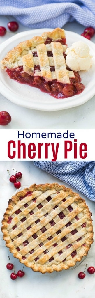 Homemade cherry pie is such an easy pie recipe and works great with fresh or canned cherries, so you can enjoy cherry pie all year round!  #easy #filling #pie #recipe #tastesbetterfromscratch.com
