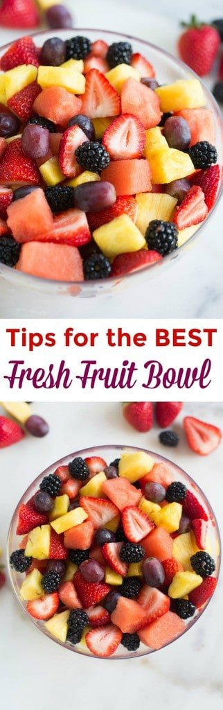 Take advantage of your favorite seasonal fruits to put together the BEST fresh fruit bowl! I've got a few easy tips for cutting, storing and assembling your fruit so that it tastes and looks amazing.