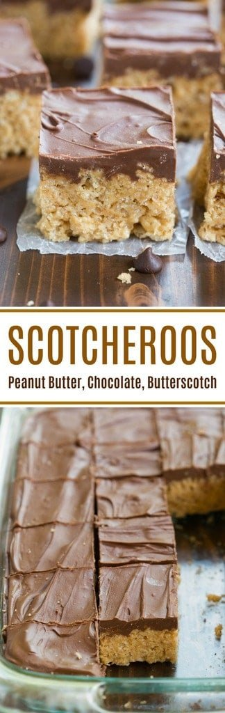 Scotcheroos are our favorite no-bake treat! Peanut butter rice crispy bars with a chocolate and butterscotch topping. These are the BEST! | tastesbetterfromscratch.com