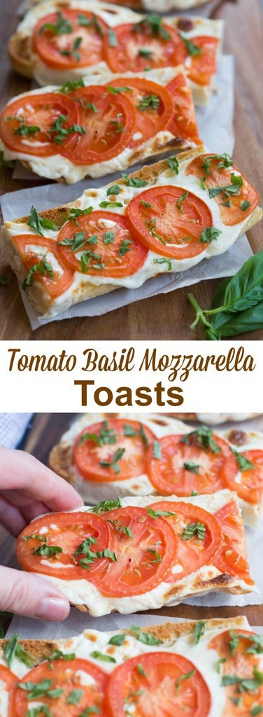Tomato Basil Mozzarella Toasts are a crusty baguette toasted with fresh mozzarella and tomato and garnished with basil. | tastesbetterfromscratch.com