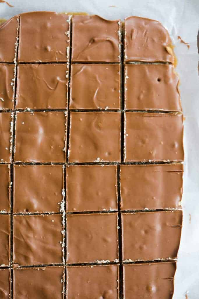 A rectangular block of caramel crunch bars, cut into squares and covered with chocolate.