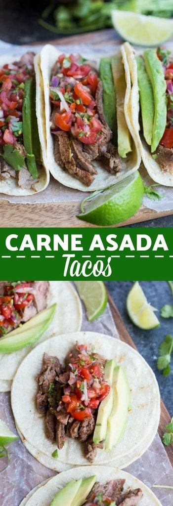 Carne Asada Tacos just as good as ones you could buy off the street in Mexico! Juicy, tender, marinated steak tacos served on a warm corn tortilla with fresh pico de gallo and avocado. | tastesbetterfromscratch.com