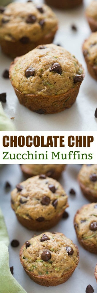 Light and tender, whole grain, chocolate chip zucchini muffins.