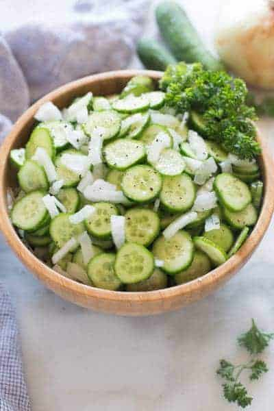 Cucumber Onion Salad | tastesbetterfromscratch.com