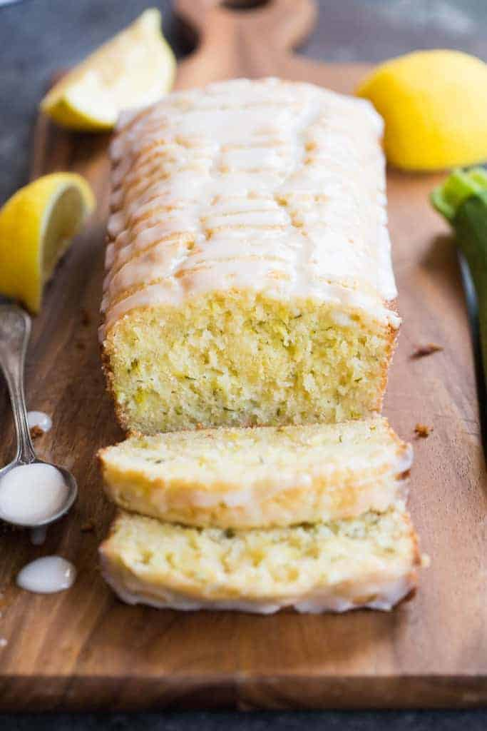 Lemon Zucchini Bread with two slices cut away.