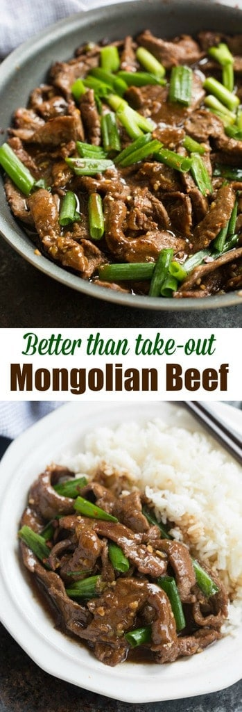 This easy Mongolian Beef recipe is better than take-out and can be made in just 30 minutes! Tender beef and fresh green onions in an amazing garlic and ginger asian sauce, served over hot cooked rice.