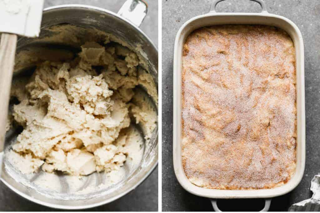 Two process photos of mixed snickerdoodles dough in a mixing bowl, then spread into a baking dish and cinnamon and sugar sprinkled on top.