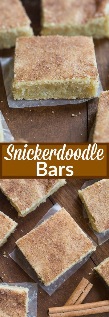 My favorite cookie recipe transformed into the BEST super soft and chewy snickerdoodle bars! No rolling or chilling the dough. These couldn't be easier to make.  | tastesbetterfromscratch.com