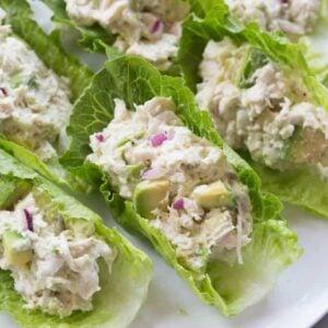 Avocado Chicken Salad Lettuce Wraps | tastesbetterfromscratch.com