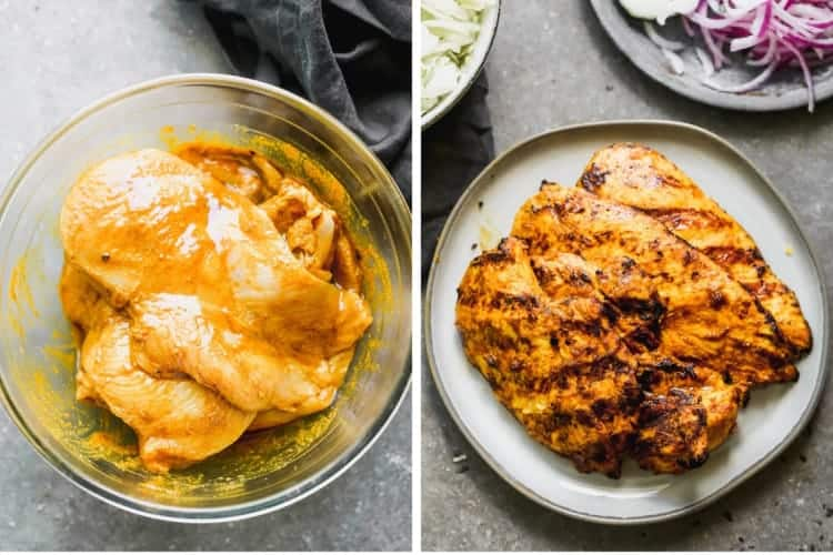 Two process photos of chicken marinating in a bowl, then grilled and resting on a plate.