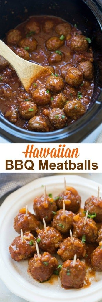 Hawaiian BBQ Meatballs make the perfect fun, easy party appetizer or you can enjoy them as a main dish, served over rice. Make them in the Slow Cooker OR on the Stovetop. | tastesbetterfromscratch.com