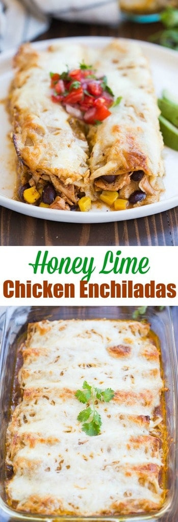 Honey lime chicken enchiladas are one of our favorites! The filling includes marinated honey lime chicken, black beans, corn, and cheese, rolled in tortillas and smothered in salsa verde.| tastesbetterfromscratch.com