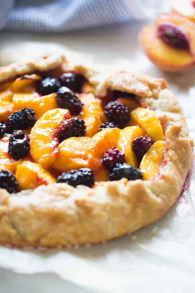 A freshly baked Peach Blackberry Tart.