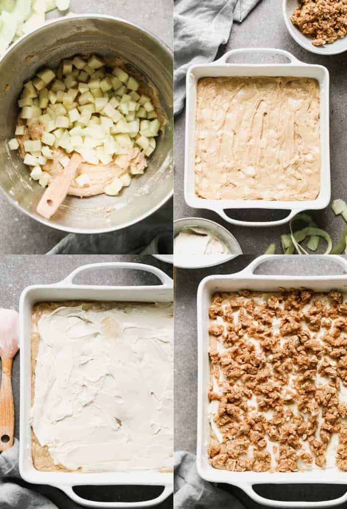 Four process photos for a making Apple Coffee Cake, spreading it into a pan and adding crumb topping.