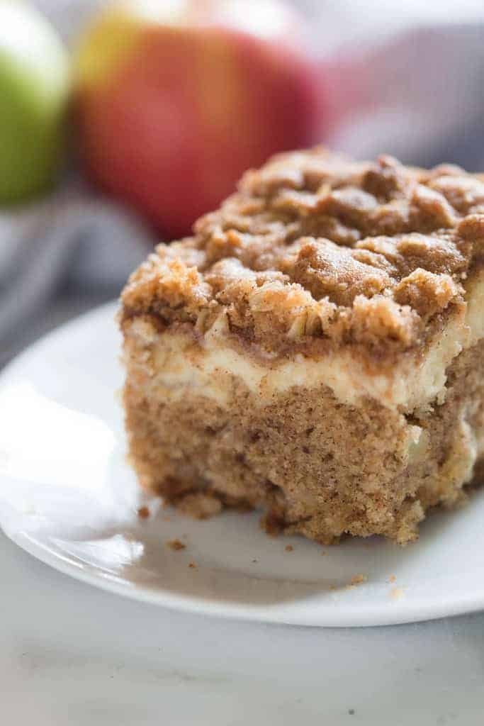 Apple Coffee Cake with cream cheese filling and streusel topping. | tastesbetterfromscratch.com