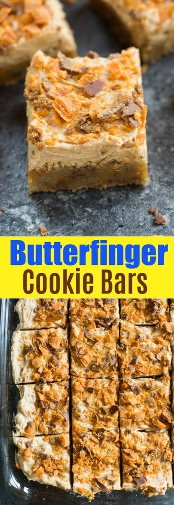 Soft and chewy Butterfinger Cookie Bars with a light, creamy Butterfinger frosting. | tastesbetterfromscratch.com