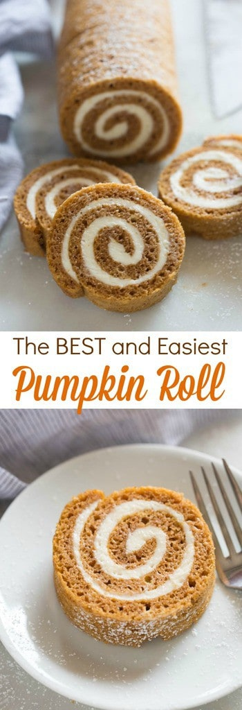 This Classic Pumpkin Roll recipe is one of my favorite easy pumpkin desserts! #withcreamcheesefilling #easy #recipe #best  | tastesbetterfromscratch.com