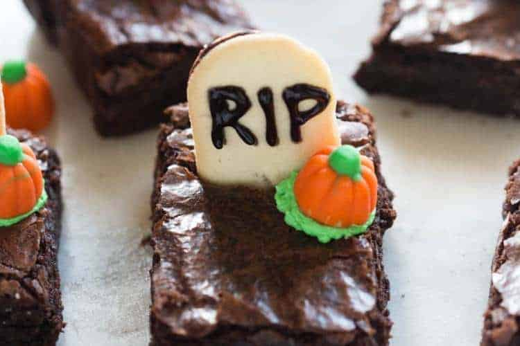 Halloween Graveyard Brownies | tastesbetterfromscratch.com