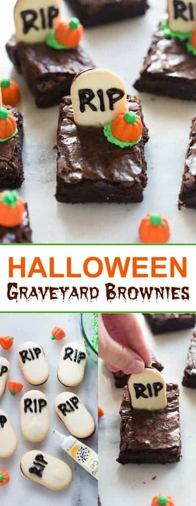 Halloween graveyard brownies are the perfect fun and easy Halloween treat for a party!  #halloweendessert #halloweenbrownie #east #spooky #tastesbetterfromscratch.com