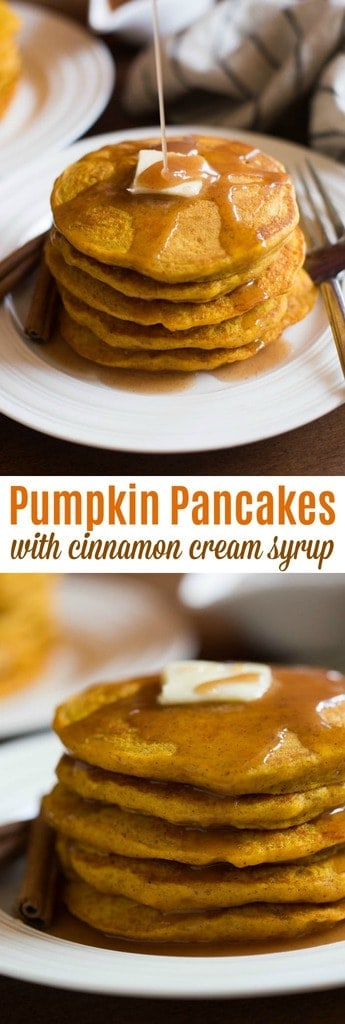 The BEST light and fluffy pumpkin pancakes with a simple homemade cinnamon syrup. | tastesbetterfromscratch.com