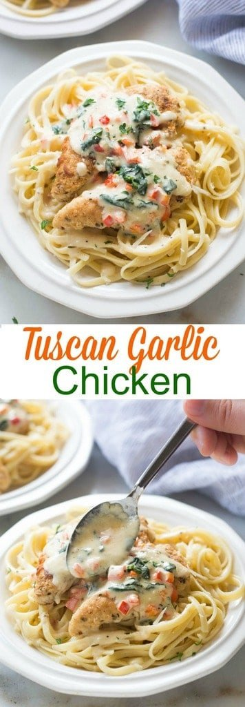 Tuscan Garlic Chicken is a family favorite! Tender and juicy crusted chicken served over noodles with a delicious creamy tuscan garlic sauce. | tastesbetterfromscratch.com