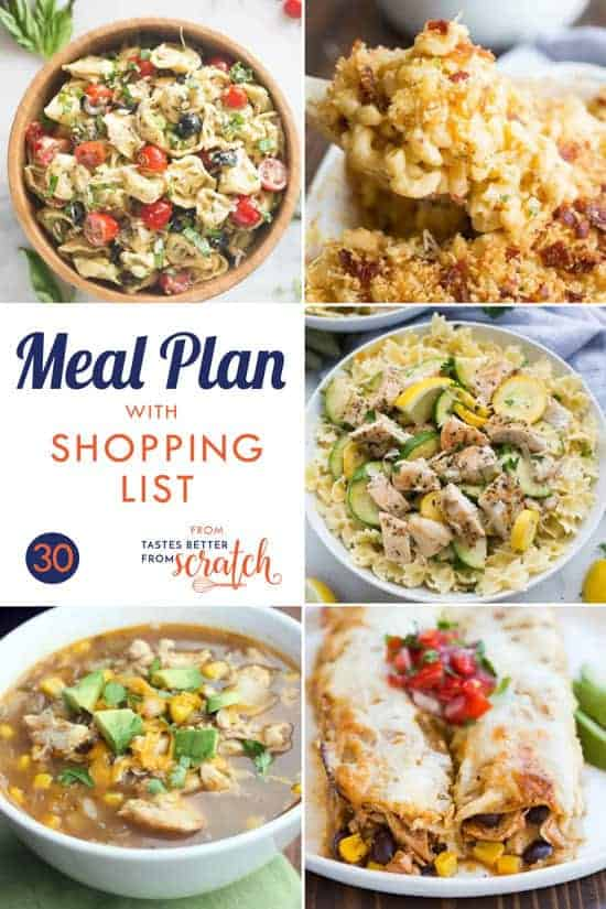 A collage of five dinner images for a printable weekly meal plan.