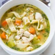 The BEST, completely homemade chicken noodle soup. Nothing tastes as good or comforting as this delicious and easy soup. | tastesbetterfromscratch.com