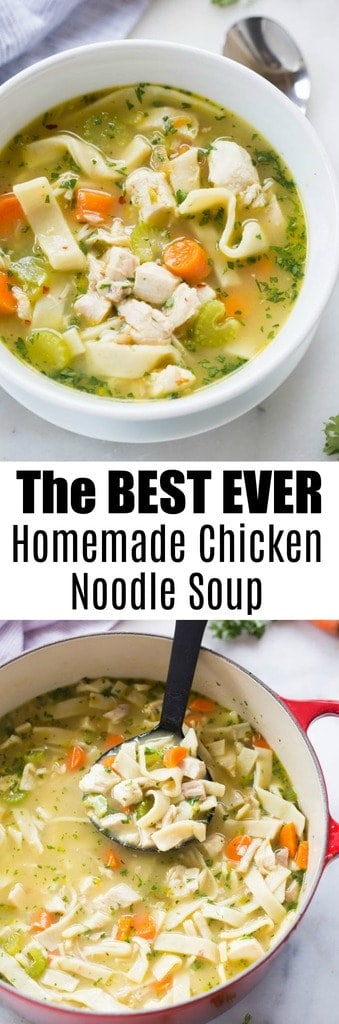 The best homemade chicken noodle soup you'll ever make! Homemade chicken broth and optional homemade egg noodles. Surprisingly simple and completely amazing. This is our family's favorite soup recipe! | tastesbetterfromscratch.com
