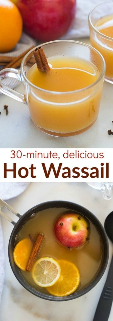 Hot Wassail is one of my favorite easy holiday drinks. A delicious warm cider drink that combines the flavors of orange and apple with cinnamon and spices. | tastesbetterfromscratch.com