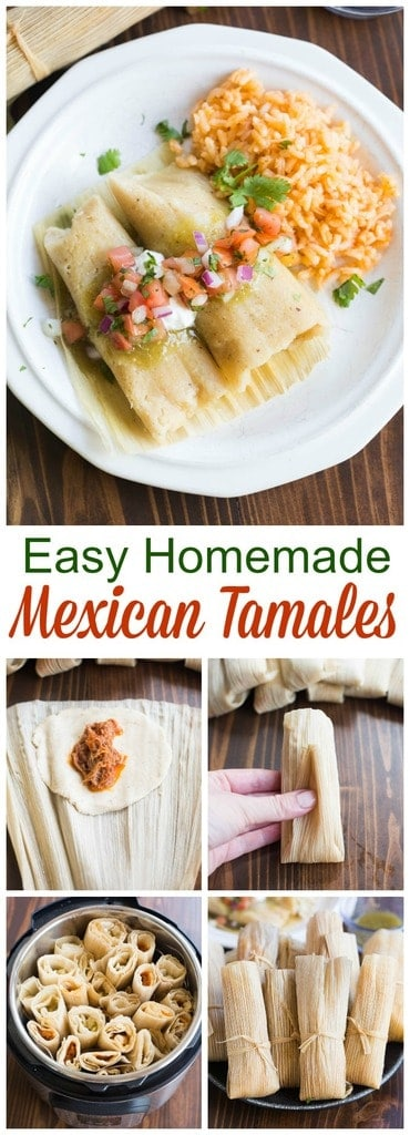 Recipe and instructions for Mexican tamales that you can steam or make in your instant pot. Pork and chicken tamales with red and green sauce. | tastesbetterfromscratch.com  #authentic #recipe #chicken #pork #howtomake #traditional