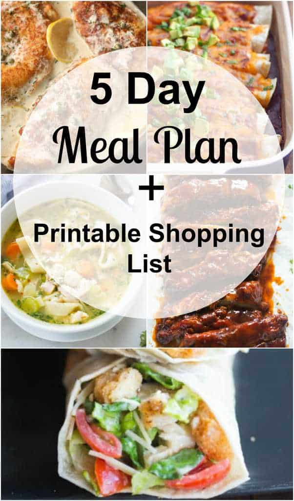 A 5-daymeal plan with easy and family friendly dinners as well as a free printable shopping list so that you always have an answer for that nagging question,
