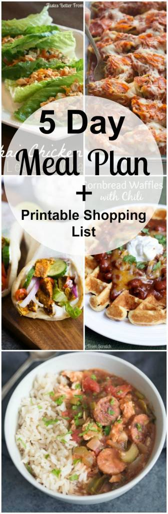 Weekly meal plan with printable shopping list. Meal plan includes: cajun chicken and sausage, thai lettuce wraps, chicken gyros, cornbread waffles and chili, pizza casserole.
