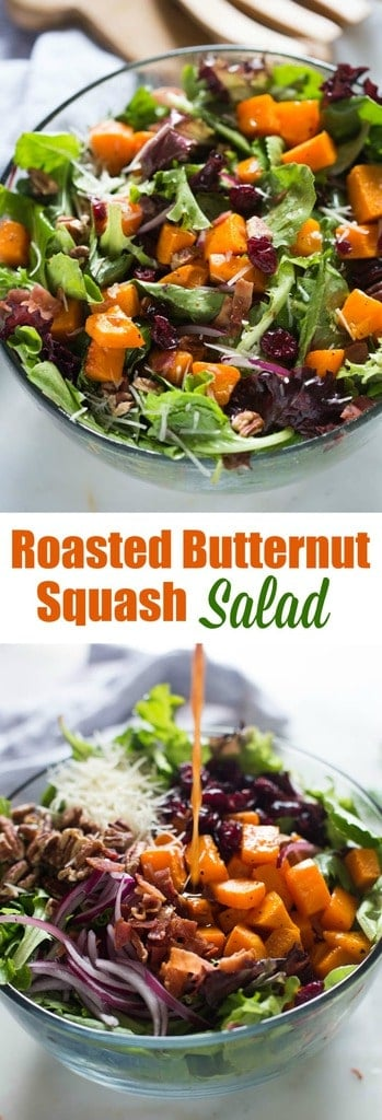 Roasted Butternut Squash Salad with pecans, bacon, onion, dried cranberries, parmesan cheese and a simple balsamic vinaigrette.| tastesbetterfromscratch.com