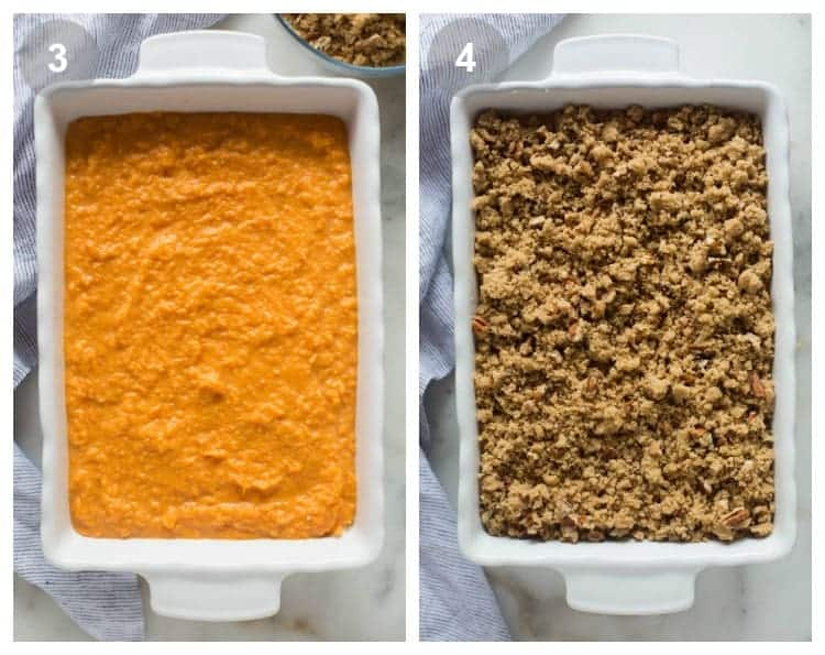 Baking dish with mashed sweet potato casserole, and then topped with brown sugar pecan crumble topping.