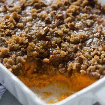 Traditional sweet potato casserole with brown sugar pecan topping is my all-time-favorite Thanksgiving side dish! | tastesbetterfromscratch.com