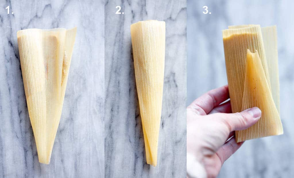 Three process photos for folding a tamale inside a corn husk.