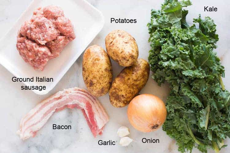 The ingredients needed to make Zuppa Toscana.
