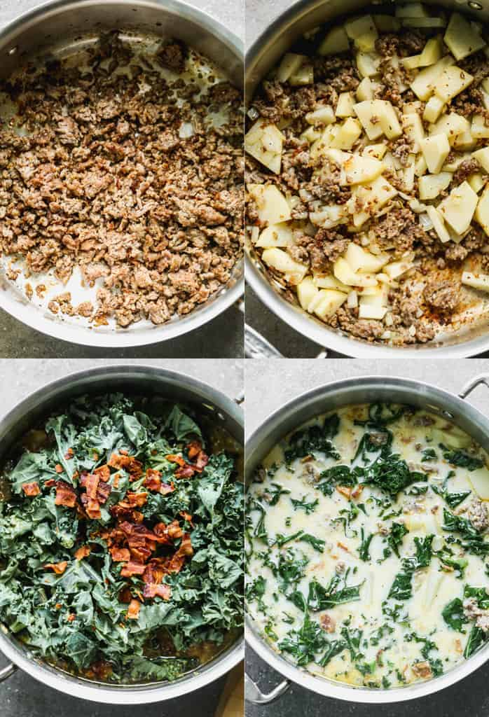 Four process photos for making Zuppa Toscana soup.