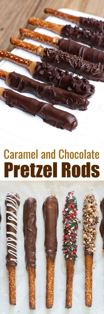 Caramel and Chocolate Dipped Pretzel Rods make the BEST holiday treat and gift for neighbors, teachers and friends at Christmas or any time of year! Made with homemade caramel, semi-sweet chocolate and your favorite toppings. | tastesbetterfromscratch.com  #recipe #christmasgift #howtomake #packaging