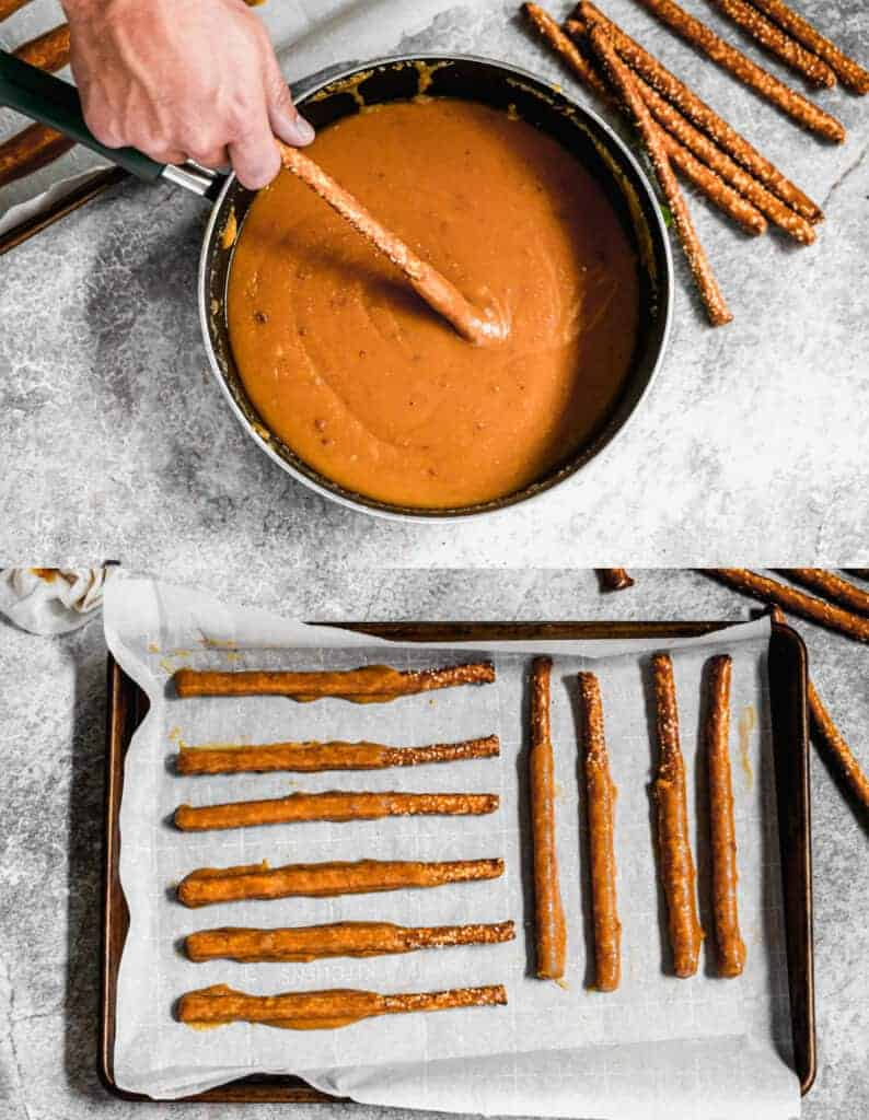 Two process photos for dipping pretzel rods in caramel and laying them on a parchment lined baking sheet.