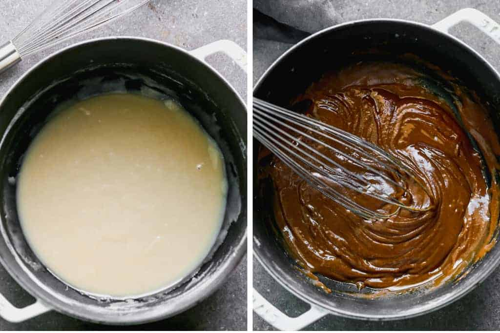 Before and after of a roux uncooked in a saucepan, and then cooked to dark brown.