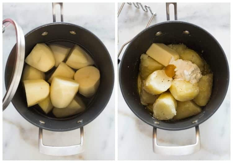 Two pots, side by side. The first pot has cut potatoes in a pot with water. The second pot shows the cooked potatoes, with butter, milk, a scoop of sour cream, chicken bullion and salt and pepper.