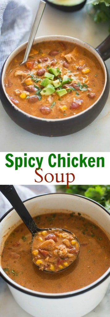 This tex-mex inspired Spicy Chicken Soup is bursting with rich, deep flavor. It's hearty, and deliciously comforting. A family favorite. | tastesbetterfromscratch.com